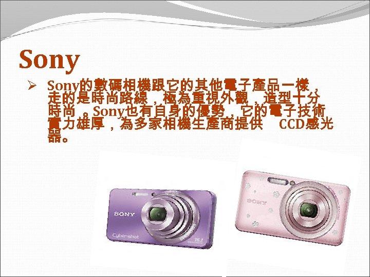 Sony Ø Sony的數碼相機跟它的其他電子產品一樣, 走的是時尚路線,極為重視外觀,造型十分 時尚 。 Sony也有自身的優勢,它的電子技術 實力雄厚,為多家相機生產商提供 CCD感光 器。