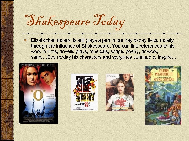 Shakespeare Today Elizabethan theatre is still plays a part in our day to day