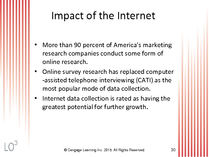 Impact of the Internet • More than 90 percent of America's marketing research companies