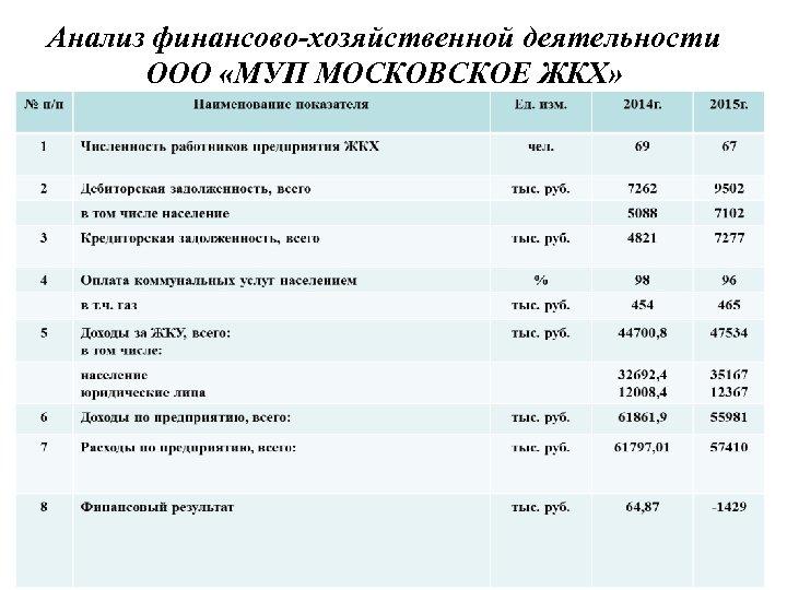 Анализ финансово-хозяйственной деятельности ООО «МУП МОСКОВСКОЕ ЖКХ»