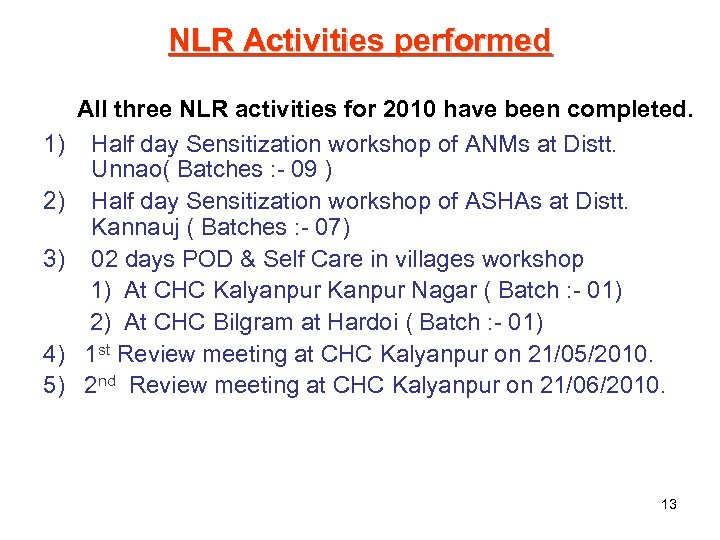 NLR Activities performed 1) 2) 3) 4) 5) All three NLR activities for 2010