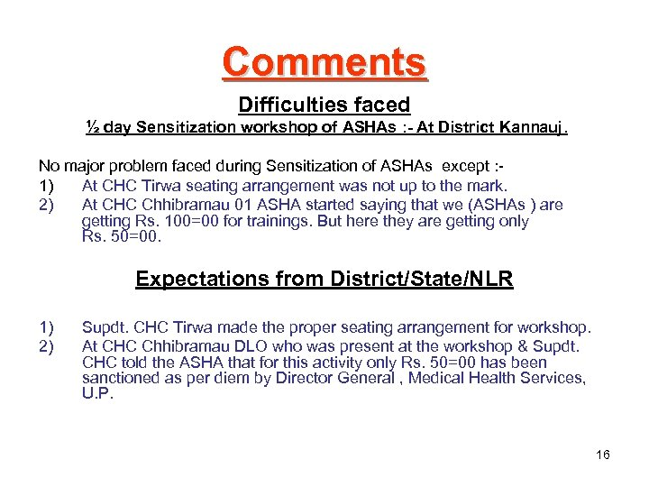 Comments Difficulties faced ½ day Sensitization workshop of ASHAs : - At District Kannauj.