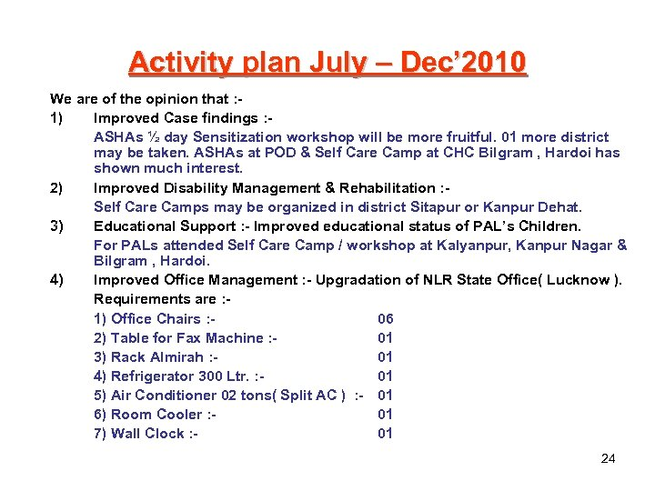 Activity plan July – Dec' 2010 We are of the opinion that : 1)