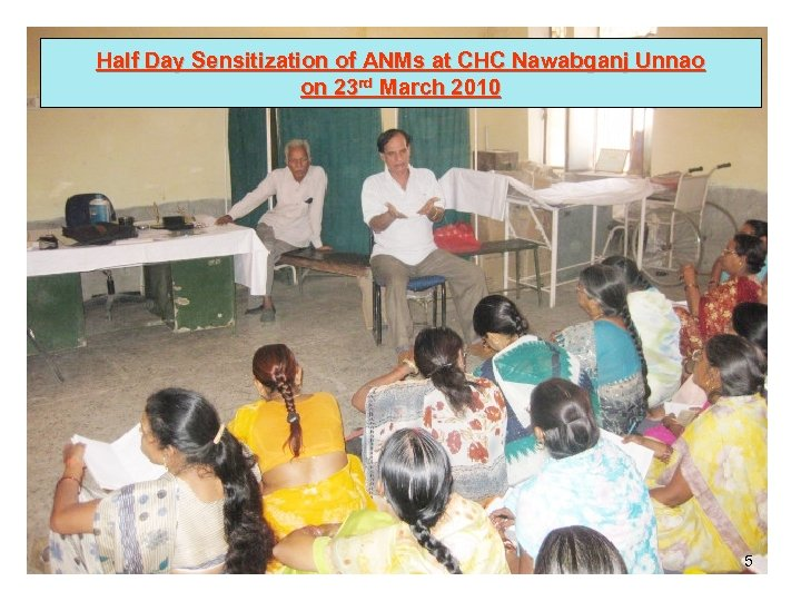 Half Day Sensitization of ANMs at CHC Nawabganj Unnao on 23 rd March 2010