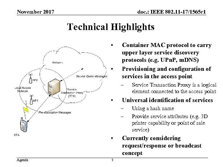 doc. : IEEE 802. 11 -17/1565 r 1 November 2017 Technical Highlights • •