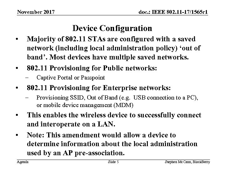 doc. : IEEE 802. 11 -17/1565 r 1 November 2017 Device Configuration • •