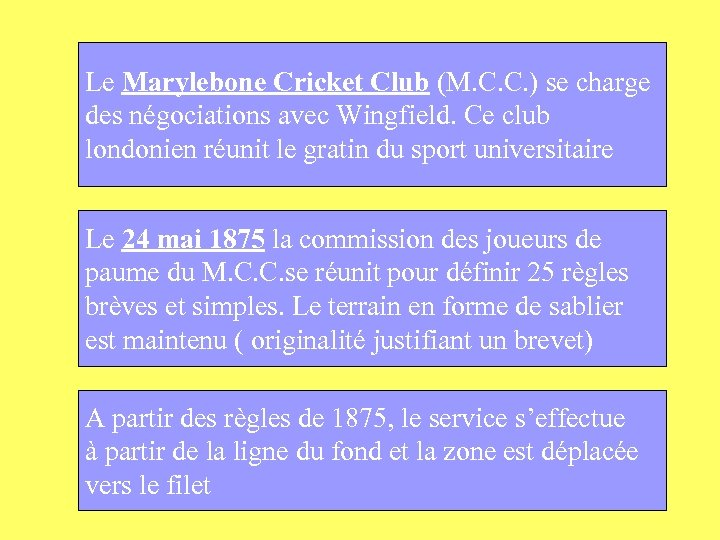 Le Marylebone Cricket Club (M. C. C. ) se charge des négociations avec Wingfield.