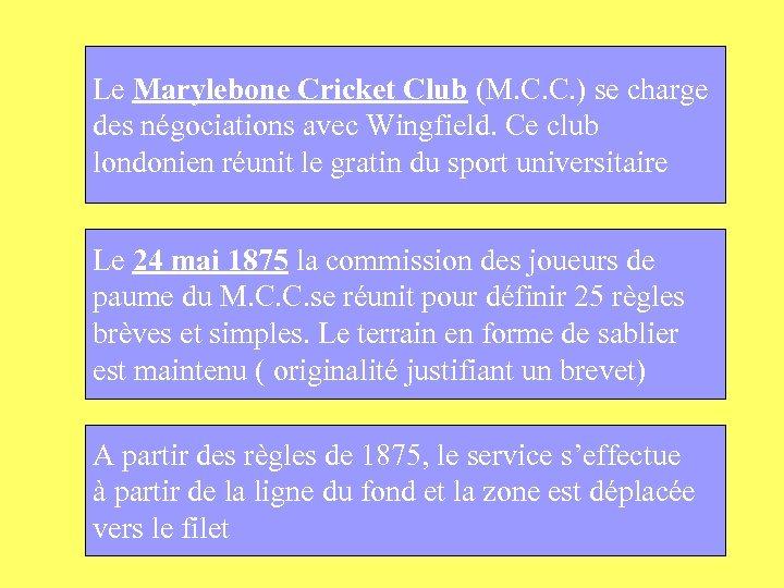 Le Marylebone Cricket Club (M. C. C. ) se charge des négociations avec Wingfield.