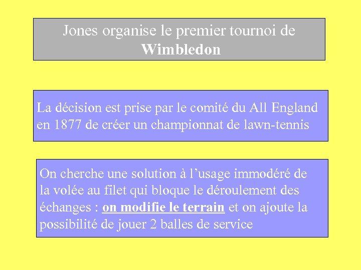 Jones organise le premier tournoi de Wimbledon La décision est prise par le comité