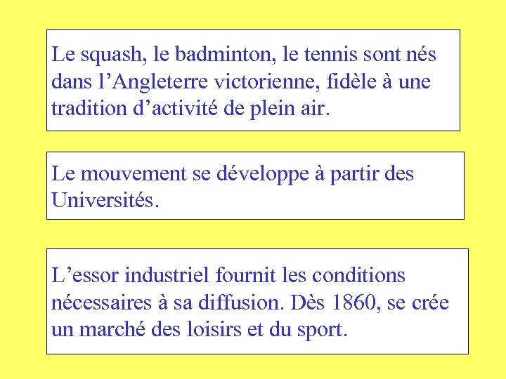 Le squash, le badminton, le tennis sont nés dans l'Angleterre victorienne, fidèle à une