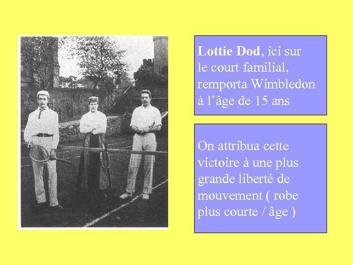 Lottie Dod, ici sur le court familial, remporta Wimbledon à l'âge de 15 ans