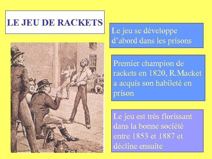 LE JEU DE RACKETS Le jeu se développe d'abord dans les prisons Premier champion