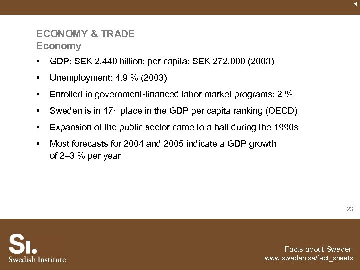 ECONOMY & TRADE Economy • GDP: SEK 2, 440 billion; per capita: SEK 272,