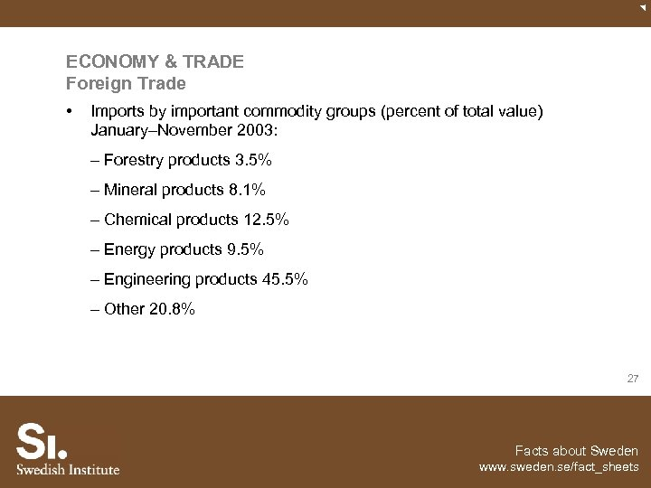 ECONOMY & TRADE Foreign Trade • Imports by important commodity groups (percent of total