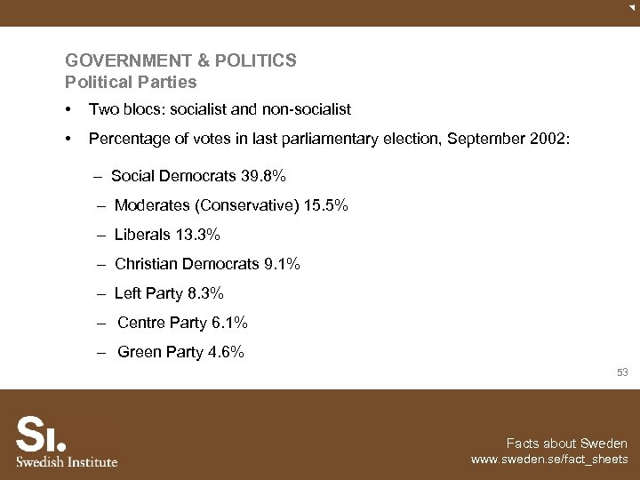 GOVERNMENT & POLITICS Political Parties • Two blocs: socialist and non-socialist • Percentage of