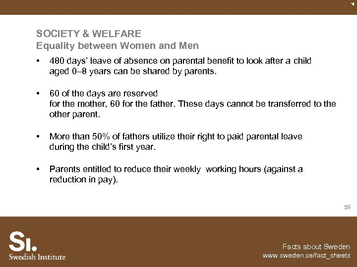 SOCIETY & WELFARE Equality between Women and Men • 480 days' leave of absence