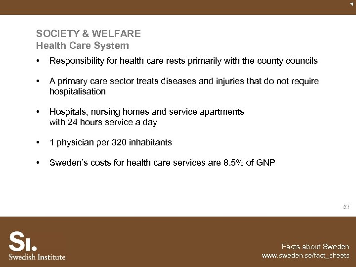SOCIETY & WELFARE Health Care System • Responsibility for health care rests primarily with