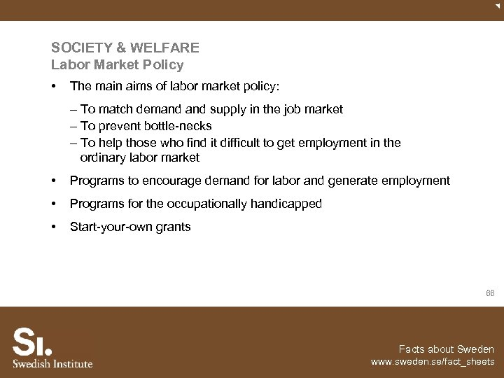 SOCIETY & WELFARE Labor Market Policy • The main aims of labor market policy: