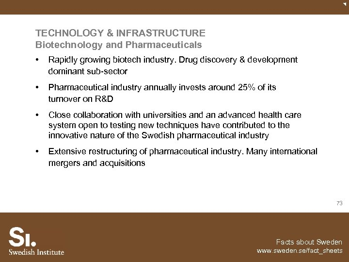 TECHNOLOGY & INFRASTRUCTURE Biotechnology and Pharmaceuticals • Rapidly growing biotech industry. Drug discovery &