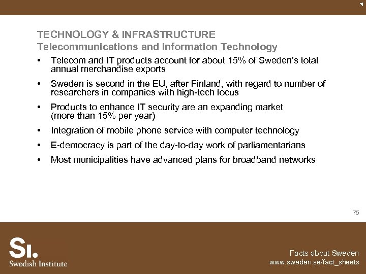 TECHNOLOGY & INFRASTRUCTURE Telecommunications and Information Technology • Telecom and IT products account for