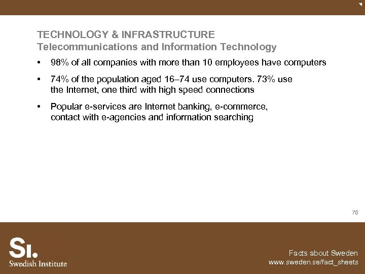 TECHNOLOGY & INFRASTRUCTURE Telecommunications and Information Technology • 98% of all companies with more
