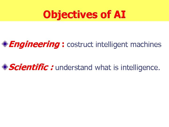 Objectives of AI Engineering : costruct intelligent machines Scientific : understand what is intelligence.