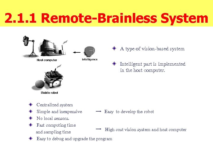 2. 1. 1 Remote-Brainless System A type of vision-based system Intelligent part is implemented