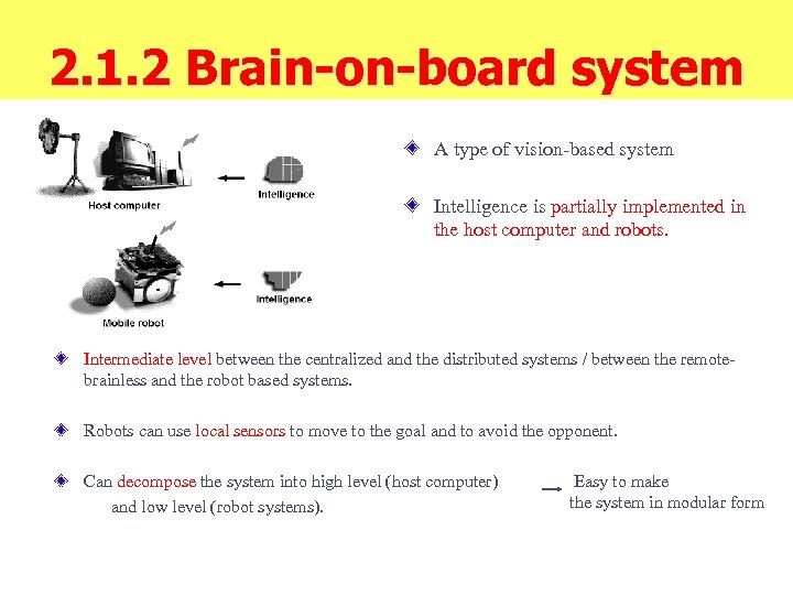 2. 1. 2 Brain-on-board system A type of vision-based system Intelligence is partially implemented