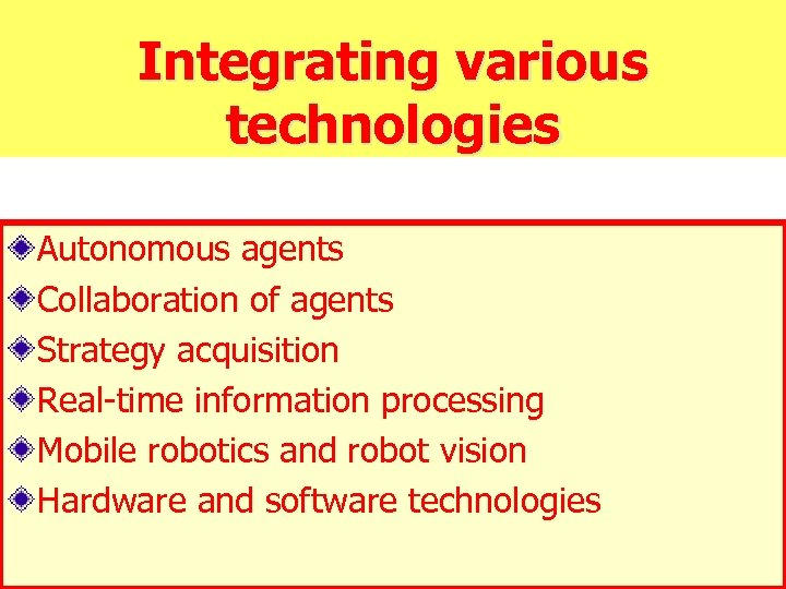 Integrating various technologies Autonomous agents Collaboration of agents Strategy acquisition Real-time information processing Mobile