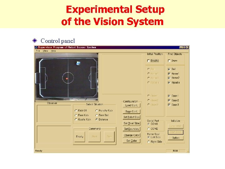 Experimental Setup of the Vision System Control panel