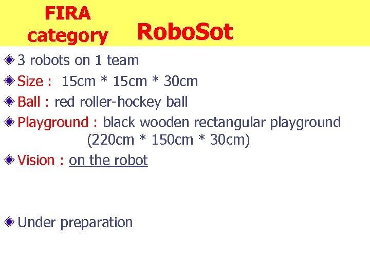 FIRA category Robo. Sot 3 robots on 1 team Size : 15 cm *