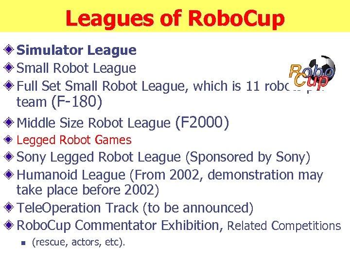Leagues of Robo. Cup Simulator League Small Robot League Full Set Small Robot League,