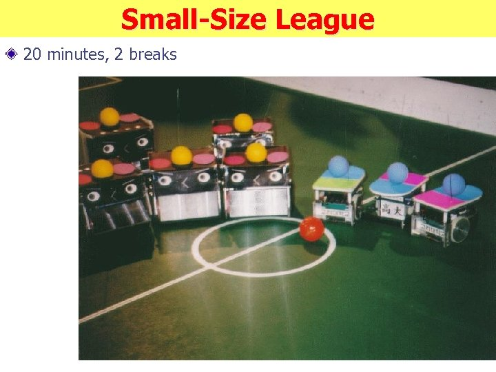 Small-Size League 20 minutes, 2 breaks