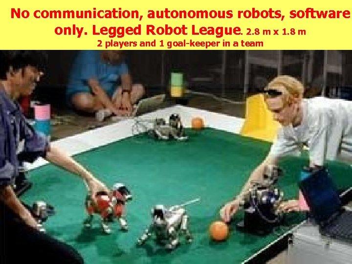 No communication, autonomous robots, software only. Legged Robot League. 2. 8 m x 1.