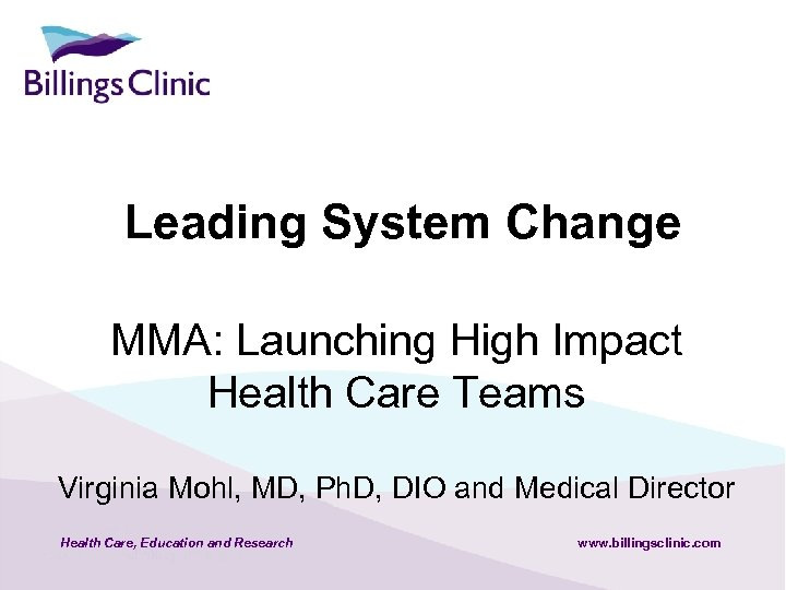 Leading System Change MMA: Launching High Impact Health Care Teams Virginia Mohl, MD, Ph.