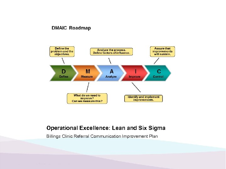 Operational Excellence: Lean and Six Sigma Billings Clinic Referral Communication Improvement Plan