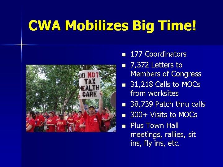 CWA Mobilizes Big Time! n n n 177 Coordinators 7, 372 Letters to Members
