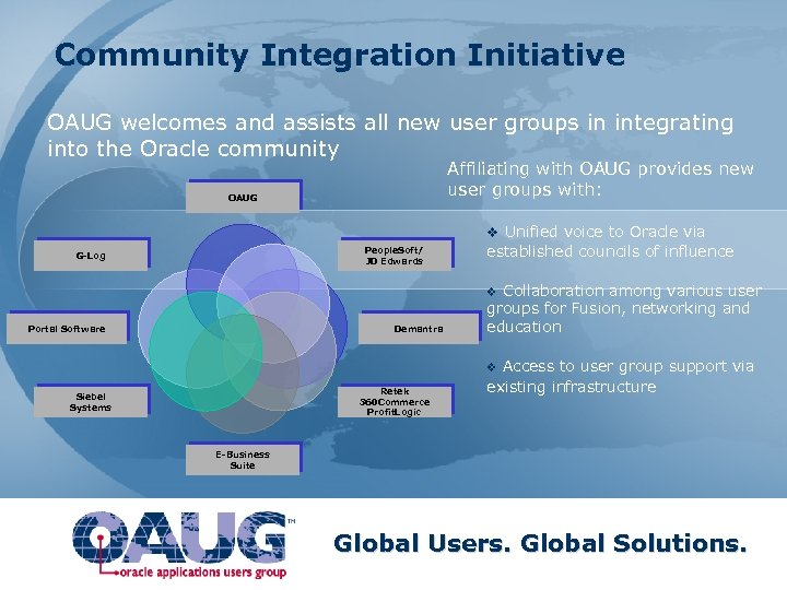 Community Integration Initiative OAUG welcomes and assists all new user groups in integrating into
