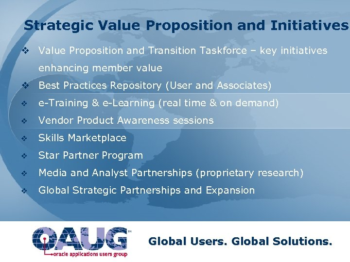 Strategic Value Proposition and Initiatives v Value Proposition and Transition Taskforce – key initiatives