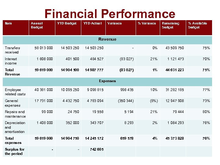 Financial Performance Item Annual Budget YTD Actual Variance % Variance Remaining budget % Available