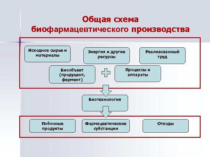 Общая схема биофармацевтического производства Исходное сырье и материалы Энергия и другие ресурсы Реализованный труд