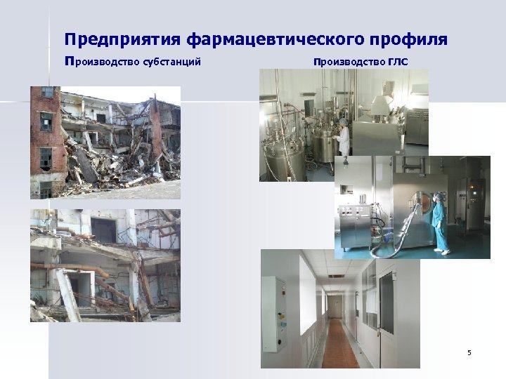 Предприятия фармацевтического профиля производство субстанций Производство ГЛС 5