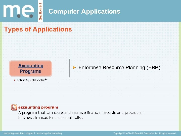Section 9. 1 Computer Applications Types of Applications Accounting Programs Enterprise Resource Planning (ERP)