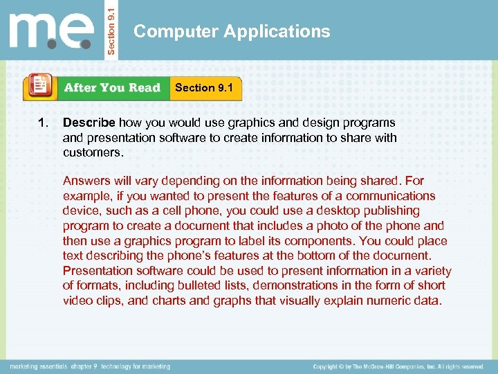 Section 9. 1 Computer Applications Section 9. 1 1. Describe how you would use