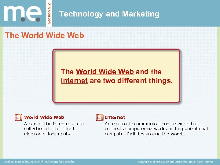Section 9. 2 Technology and Marketing The World Wide Web and the Internet are