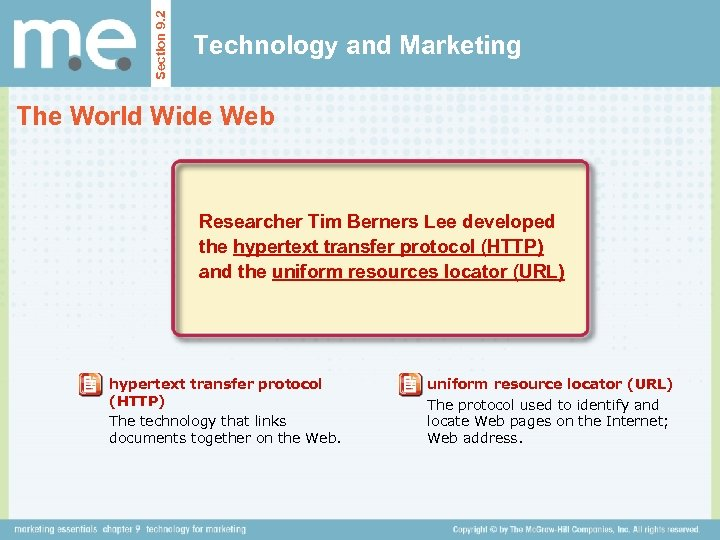 Section 9. 2 Technology and Marketing The World Wide Web Researcher Tim Berners Lee