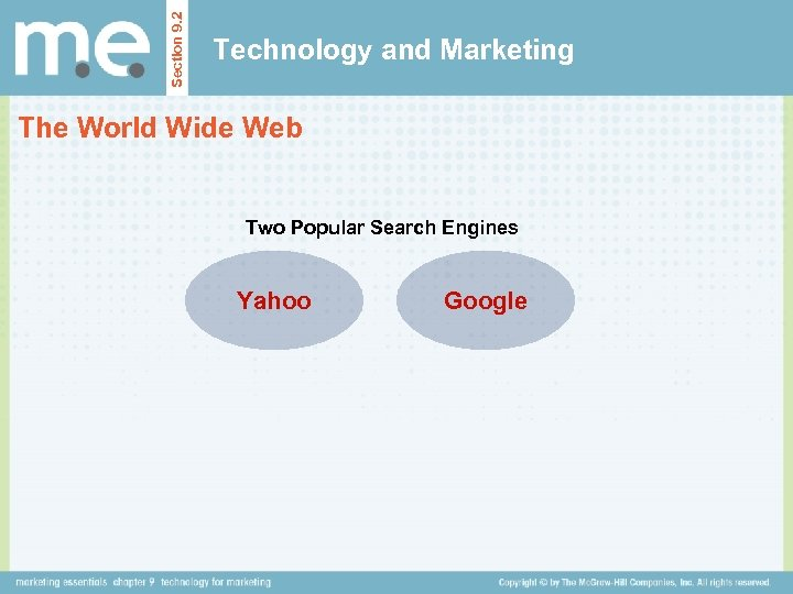 Section 9. 2 Technology and Marketing The World Wide Web Two Popular Search Engines