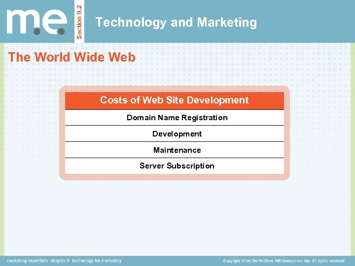 Section 9. 2 Technology and Marketing The World Wide Web Costs of Web Site