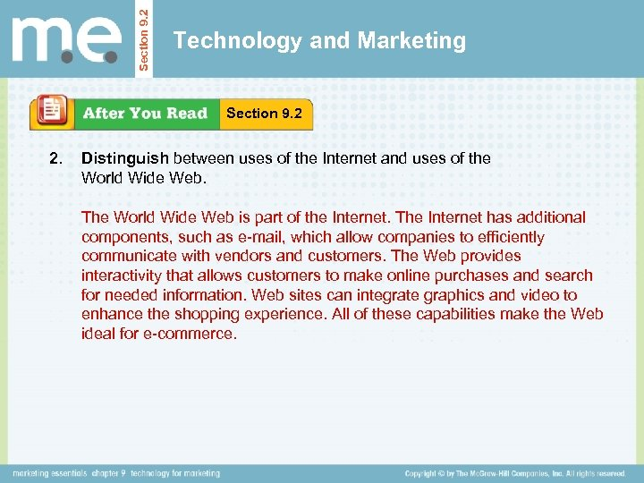 Section 9. 2 Technology and Marketing Section 9. 2 2. Distinguish between uses of