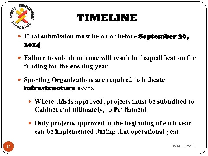TIMELINE Final submission must be on or before September 30, 2014 Failure to submit